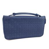 【奢華時尚】秒殺推薦!BOTTEGA VENETA 天空藍色編織羊皮七卡肩背手拿拉鍊皮夾包(八八成新)#23811