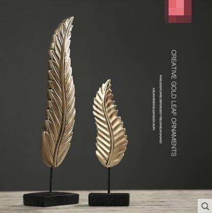 優選 北歐式創意招財樹葉擺件辦公室酒櫃客廳裝飾品--主圖款-9216T樹葉一對