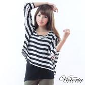 Victoria 假兩件寬鬆條紋雪紡TEE-黑-Y2502188