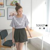 東京著衣-胸前花朵蕾絲荷葉袖口上衣-XS.S.M(6016582)