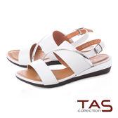 TAS 金屬感造型繫帶低跟涼鞋-質感白