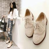 牛津鞋 英倫風繫帶雕花布洛克單鞋女粗跟復古小皮鞋大碼女鞋 免運