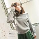 【KatieQ】平口領綁帶針織上衣-F 2839 FREE灰色