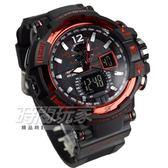 EXPONI 粗曠有型 計時雙顯男錶 防水手錶 學生錶 LED背光 響鬧 EX3236紅黑