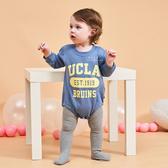 字母三角長袖包屁衣 爬爬服 連身裝 嬰兒服