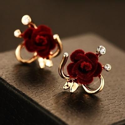 耳環 玫瑰金純銀鑲鑽-甜美花朵生日情人節禮物女飾品73ca84【時尚巴黎】