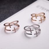 【NiNi Me 】韓系戒指氣質優雅雙層十字架微鑲水鑽開口式戒指戒指F0005
