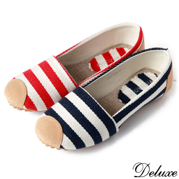 【Deluxe】舒適休閒經典海軍風帆布條紋懶人鞋(藍-紅)