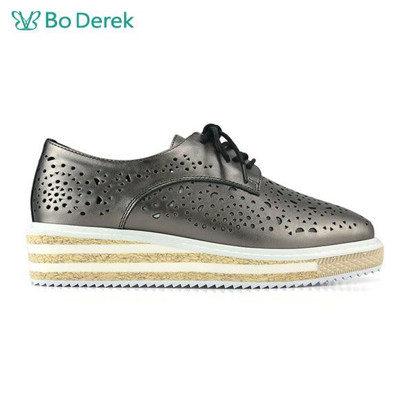 【Bo Derek 】簍空造型厚底牛津鞋-灰色