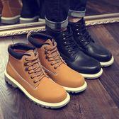 馬丁靴 男短靴 秋冬新款高幫工裝鞋潮大黃靴低幫工裝中幫男靴子《印象精品》q1318