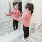 女童秋冬加絨打底衫新款秋季兒童洋氣半高領長袖上衣大童純棉 夢露時尚女裝