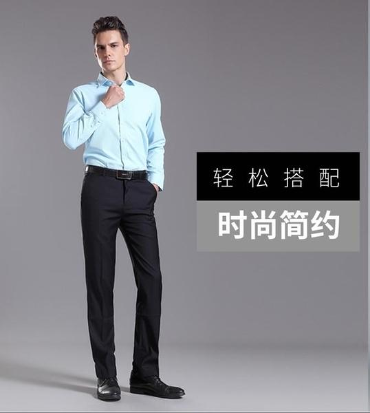 西裝 職業正裝修身韓版男士上班黑色西褲男裝商務工作褲西服免燙長褲子 萬寶屋