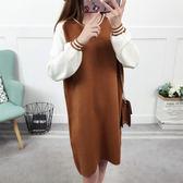 撞色寬鬆中長版針織毛衣洋裝連身裙★ifairies【65377】