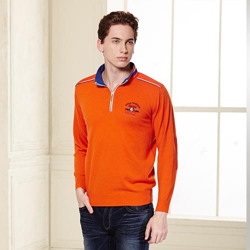 *86精品* 立領毛衣橘紅色亮麗顯眼.適合秋冬穿搭的最佳男主角【15045-32】