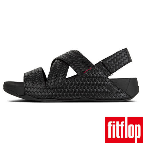 FitFlop】男款-CHI BACK-STRAP SANDALS IN WOVEN EMBOSSED LEATHER(黑色)