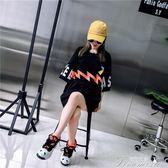韓國ins超火短袖t恤女中長款寬鬆原宿bf風韓版潮學生夏裝半袖上衣 提拉米蘇