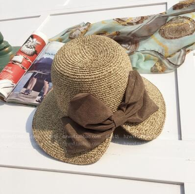 草帽大蝴蝶結開叉遮陽帽 可折疊防曬沙灘太陽帽m27