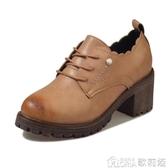小皮鞋女英倫風新款春秋冬季粗高跟韓版復古學院風百搭單鞋 歌莉婭