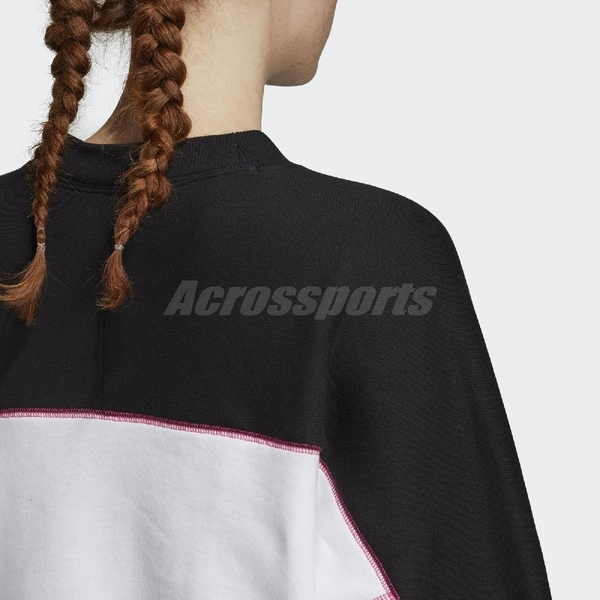 adidas 長袖T恤 R.Y.V. Sweatshirts 黑 粉紅 女款 大學T 運動休閒 【PUMP306】 FH7563