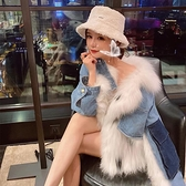 冬季新款女皮草寬松休閑中長款加厚時尚牛仔拼接毛毛外套女 Korea時尚記