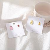【NiNi Me】夾式耳環 可愛童趣香蕉草莓牛奶925銀針耳環 夾式耳環 E0242