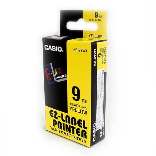 KL-170 專用標籤紙色帶9mm單卷裝黃底黑字 XR-9YW1卡西歐CASIO
