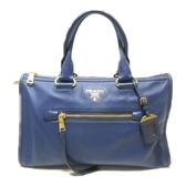 PRADA 普拉達 藍色牛皮手提斜背兩用包2way Handbag BL0805【二手名牌BRAND OFF】