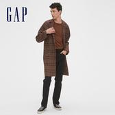 Gap男裝 復古格紋單排扣平駁領大衣528791-卡其紅格子