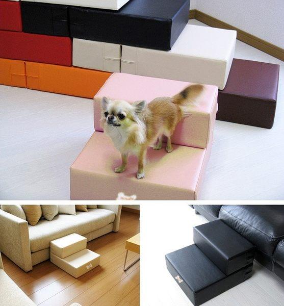 Petstyle寵物台階梯子 小狗海綿樓梯二層皮革樓梯可折疊 泰迪幼犬【米拉生活館】JY