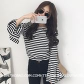 EASON SHOP(GU7617)韓國黑白撞色細橫條紋大喇叭袖圓領長袖T恤女上衣服寬鬆顯瘦內搭衫彈力貼身棉T恤