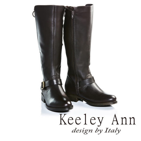 ★零碼出清★Keeley Ann都會步調真皮後綁帶設計款粗跟長靴(咖啡色)