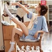 睡衣睡衣女夏季薄款短袖純棉兩件套裝學生ins韓版女士春秋夏天家居服 艾家