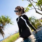 泳衣 新款泳衣女士專業運動連體平角保守顯瘦遮肚潛水長袖溫泉泳裝 瑪麗蘇