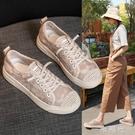 漁夫鞋女平底2020新款蕾絲休閒鞋時尚小香風黑色網鞋夏季女鞋透氣  一米陽光