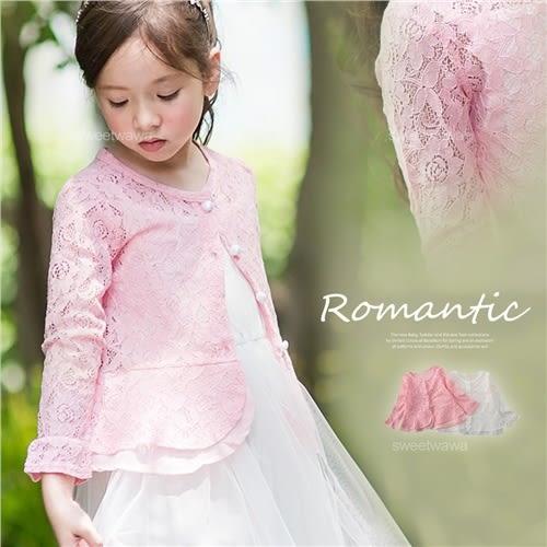 浪漫鏤空緹花層次下擺長袖小罩衫外套~搭禮服洋裝(250559)★水娃娃時尚童裝★