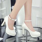 正韓單鞋防水臺女鞋粗跟高跟鞋圓頭一字扣帶漆皮公主鞋