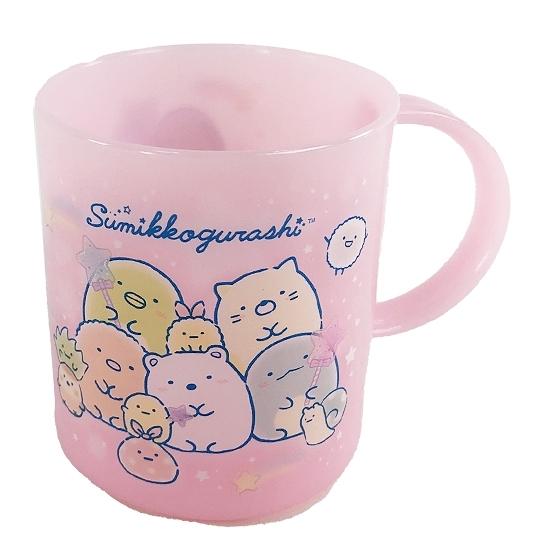 小禮堂 角落生物 日製 單耳塑膠杯 兒童水杯 漱口杯 小水杯 240ml (粉 糖果) 4974413-77892