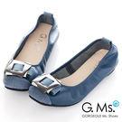 G.Ms.*  MIT系列-拼接鱷魚紋金屬飾釦牛皮娃娃鞋*奢華藍