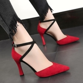 新款 尖頭紅色高跟婚鞋性感細跟中空一字扣單鞋交叉帶女 涼鞋 鉅惠85折