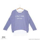 【INI】輕鬆穿搭、真兩件式條紋慵懶感連袖上衣.灰色
