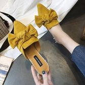 尖頭半拖鞋女夏季新款韓版百搭外穿粗跟一字涼拖鞋懶人穆勒鞋