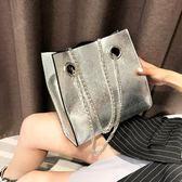 夏天單肩包包女2018新款潮韓版百搭斜挎錬條大容量時尚簡約托特包
