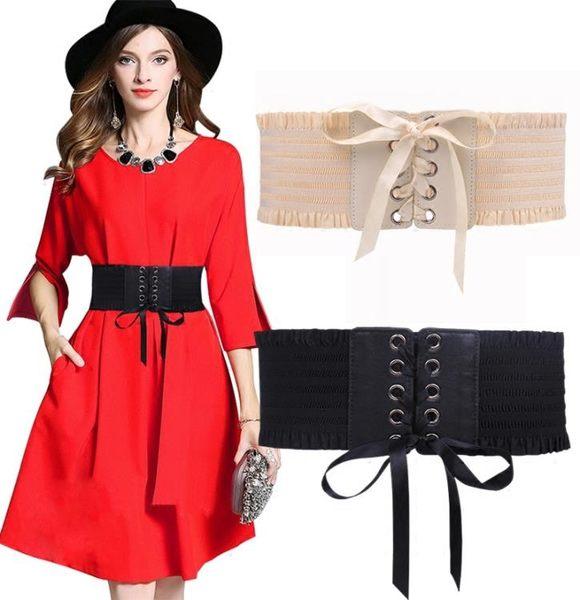 寬版皮帶黑色毛衣鬆緊寬版束腰帶女 裝飾百搭bf風優雅彈力洋裝腰封 配洋裝