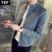 秋季純色夾克衫男士外套學生薄款潮流外衣青年帥氣韓版修身春秋裝
