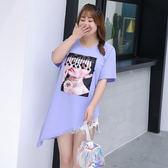中大尺碼~胸前時尚布貼不規則下擺短袖T恤上衣(XL~4XL)