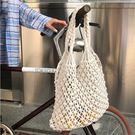 漁網包 韓版小眾設計2019新款手工編織沙灘縷空草編包造型手提單肩包-小精靈生活館