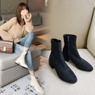 大尺碼女鞋34~43 2020時尚百搭顯瘦絨面中跟短靴 瘦瘦靴~2色