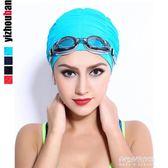 泳帽女布料雙層長頭發加大不勒頭游泳帽子時尚褶皺紅/藍/黑色布帽  朵拉朵衣櫥