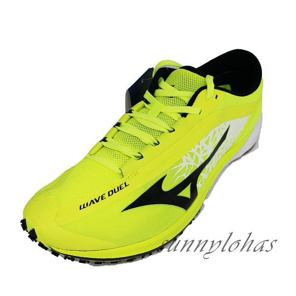 (A8) MIZUNO美津濃 男 WAVE DUEL 路跑慢跑鞋 馬拉松 競速 抓地 輕量U1GD196002黃 [陽光樂活]