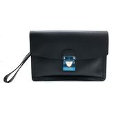 【台中米蘭站】全新品 Louis Vuitton TAIGA 防刮牛皮 比佛利釦式手拿包(黑)